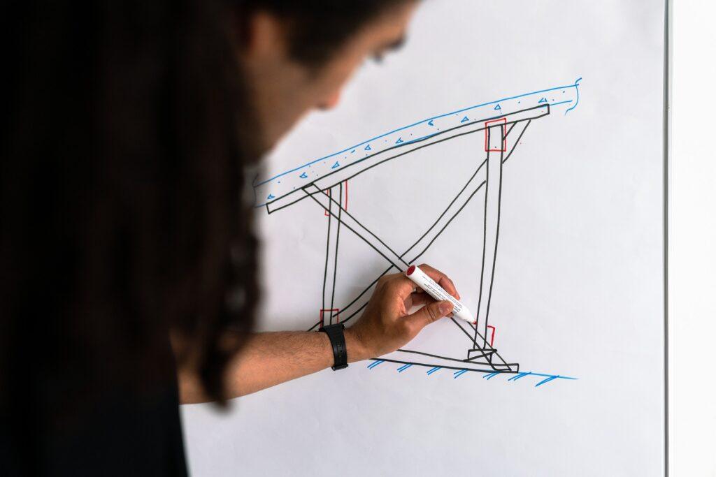 Ingeniero dibujando estructuras - construcción
